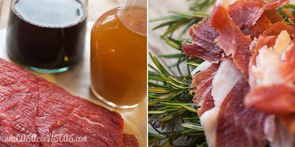 Ingredientes para receta de ternera rellena al horno