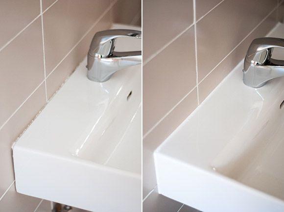 Aplicar silicona en un lavabo
