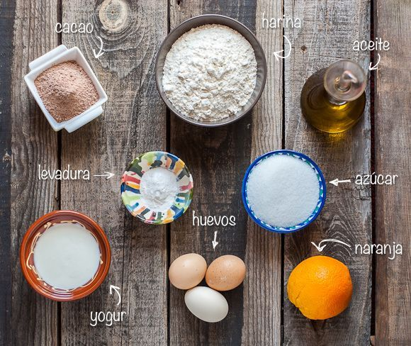 Ingredientes para el bizcocho de dos colores