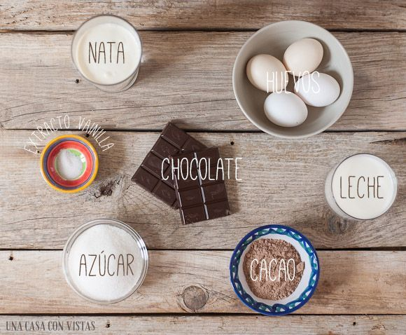 Ingredientes del helado de chocolate