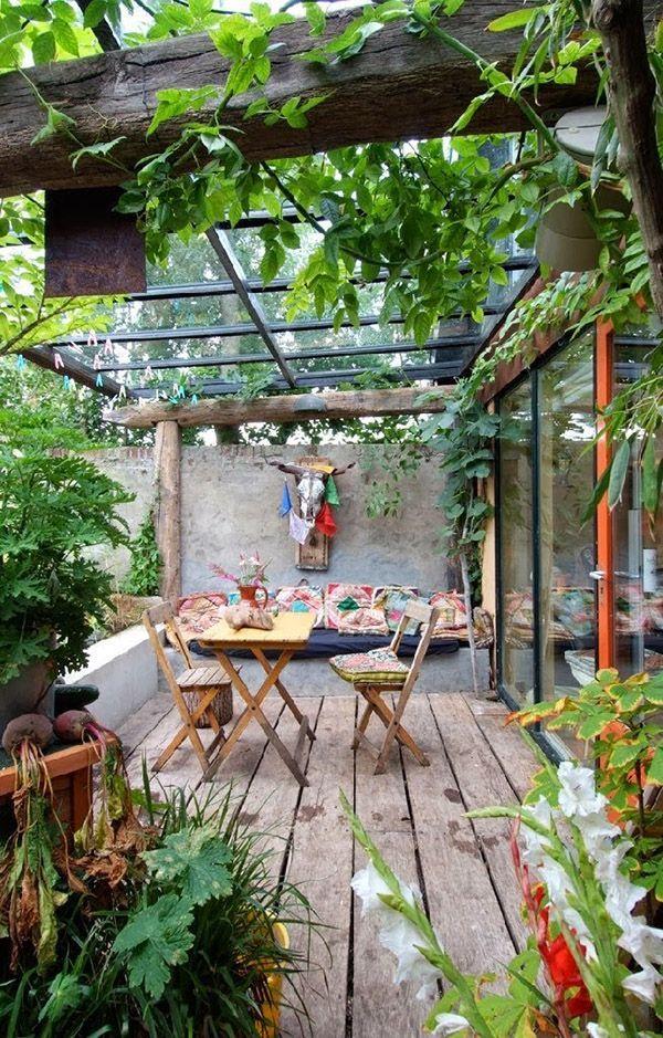 Terraza con techo de cristal