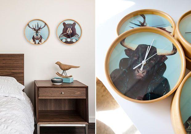 relojes de pared con animales