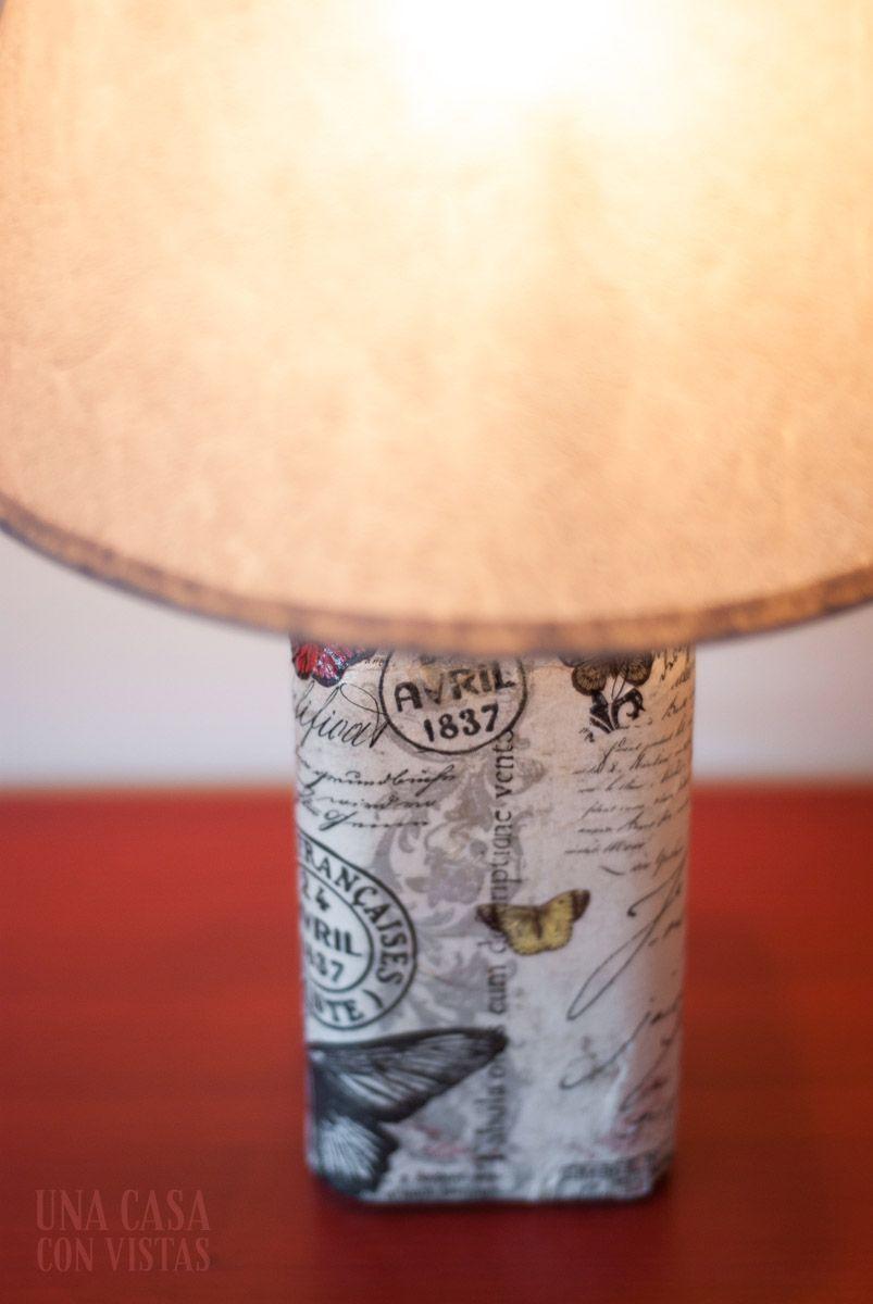 Lámpara botella decoupage