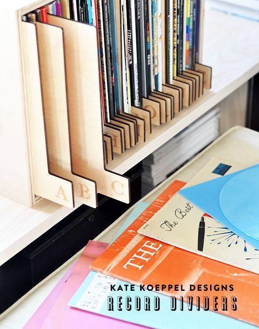 Marcadores de madera para discos de vinilo