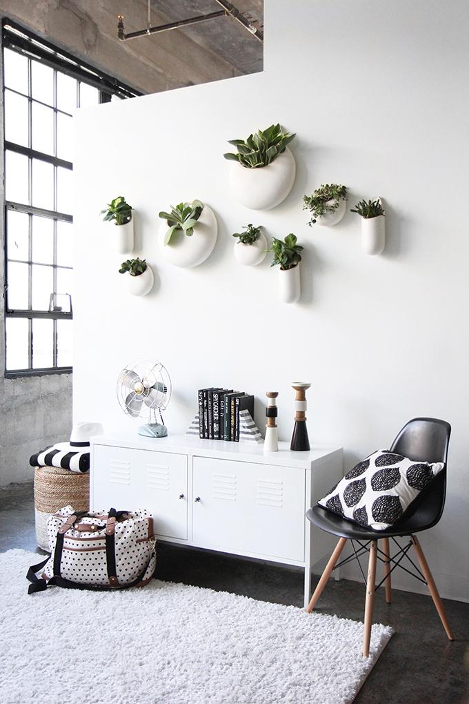 Pared con plantas colgadas