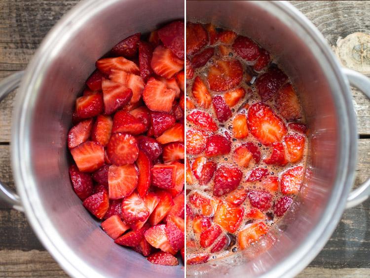Cocinando mermelada de fresa