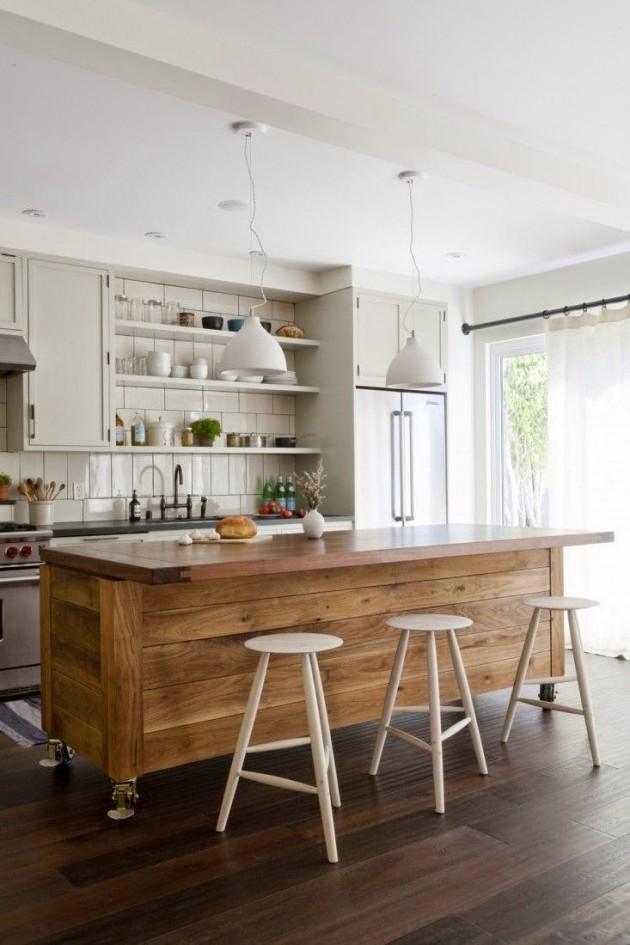 Taburetes altos en la cocina una gran idea una casa con - Taburete cocina madera ...