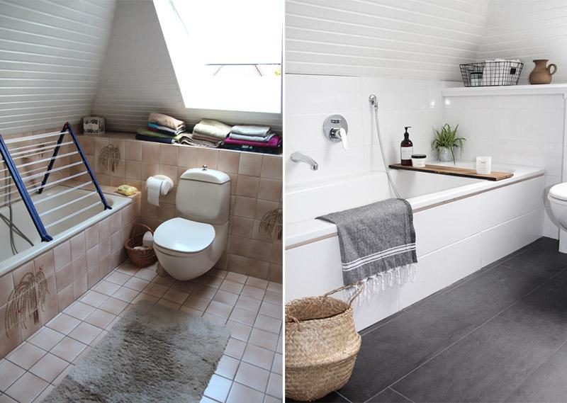 Antes y después de un baño nórdico abuhardillado