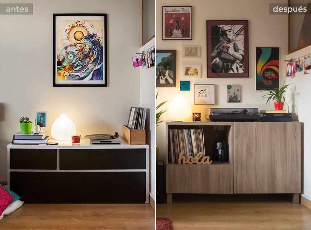 Antes y después de aparador Ikea con vinilos para rincón musical