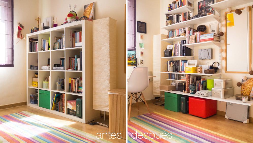Antes y después de instalar estantería personalizada