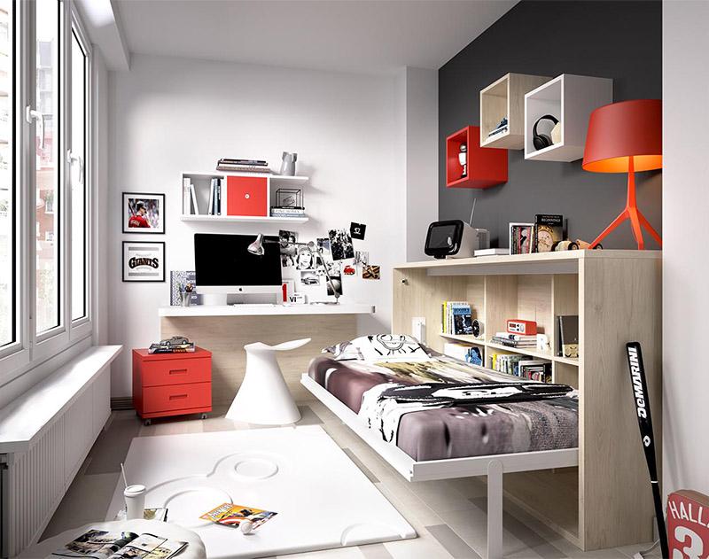 Dormitorio con cama abatible