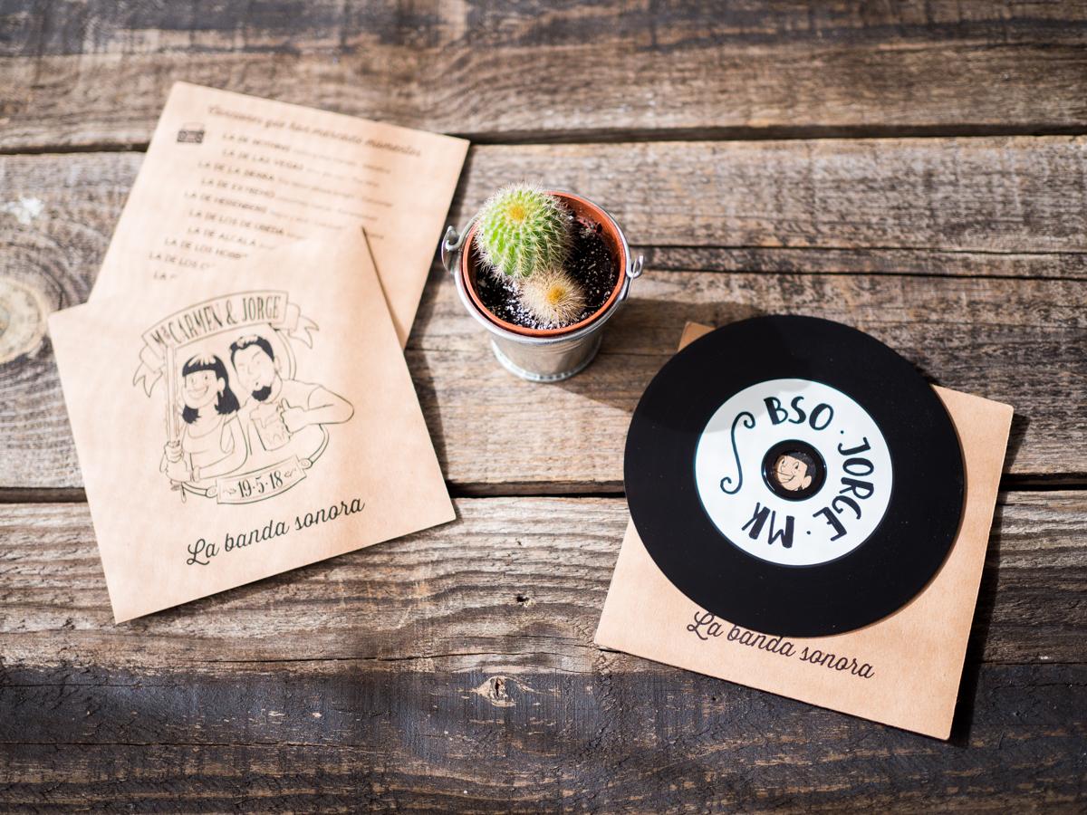 Cactus y cd personalizado invitación boda