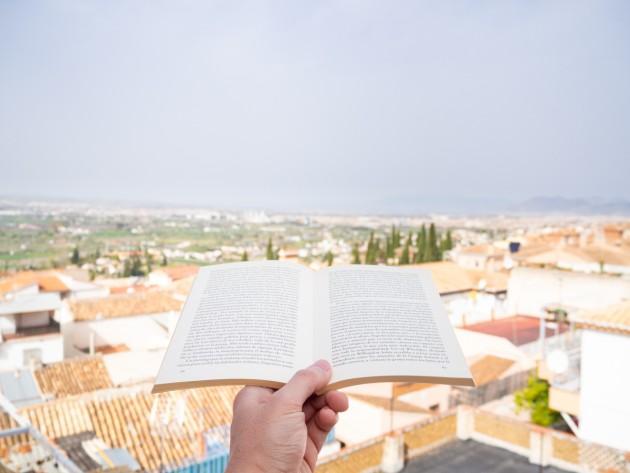 Leyendo en la terraza