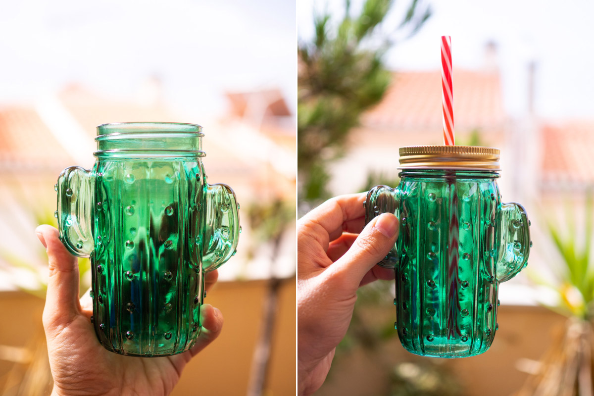 Taza jarra cactus de cristal