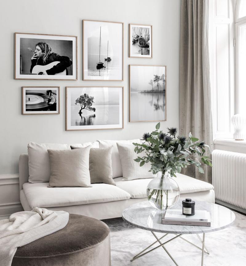 Composición de cuadros en blanco y negro