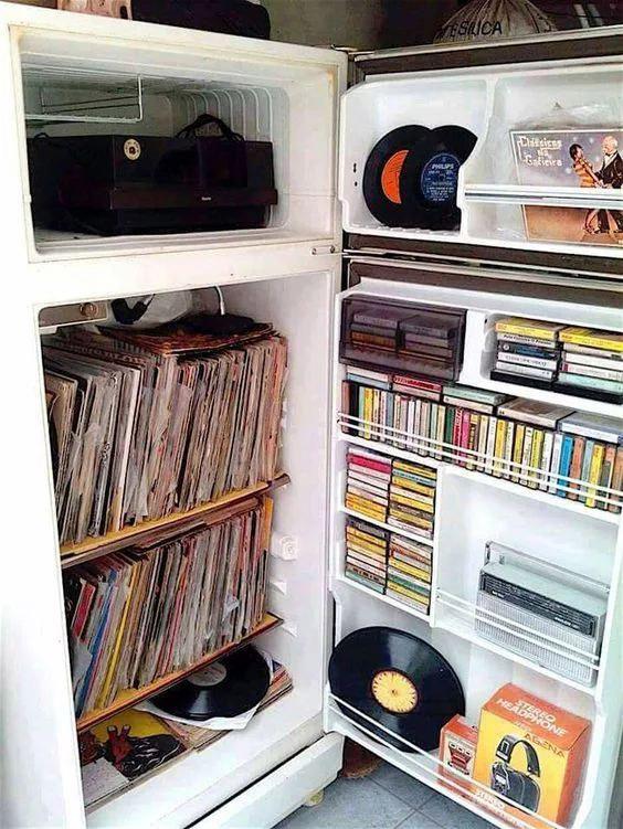 Frigorífico para guardar discos de vinilo