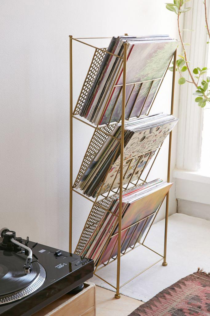 Mueble de metal para discos de vinilo