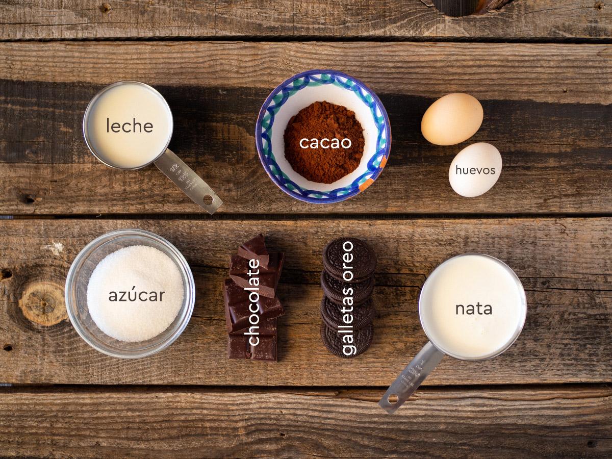 Ingredientes helado de chocolate con Oreo