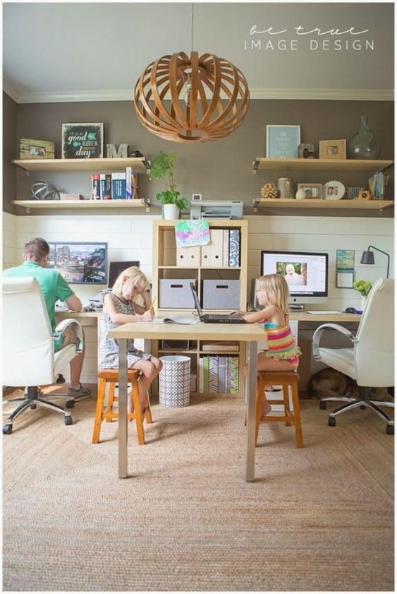 Espacio de trabajo compartido en casa