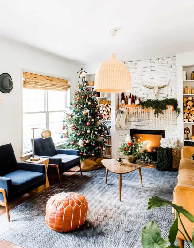 Salón decorado para Navidad