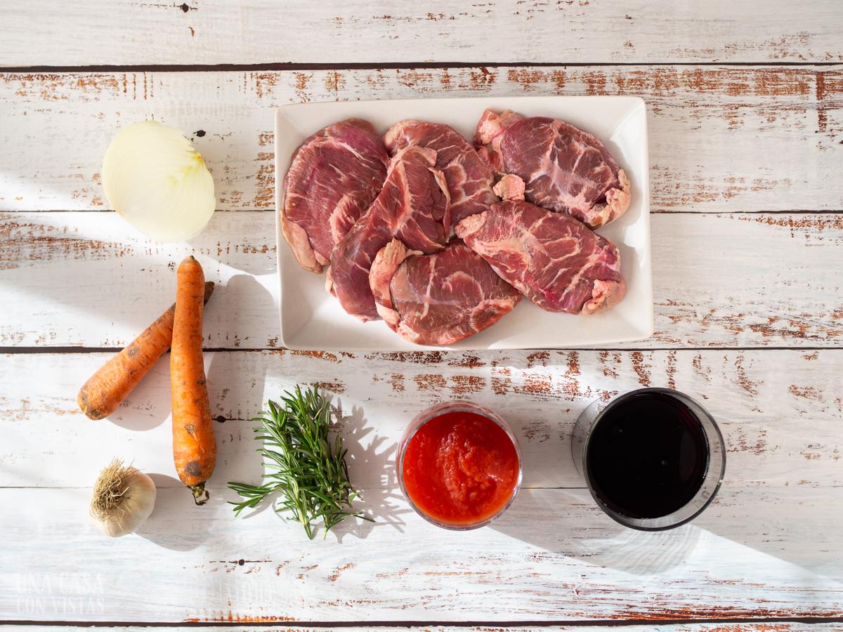 Ingredientes Carrilleras al vino tinto en crock-pot