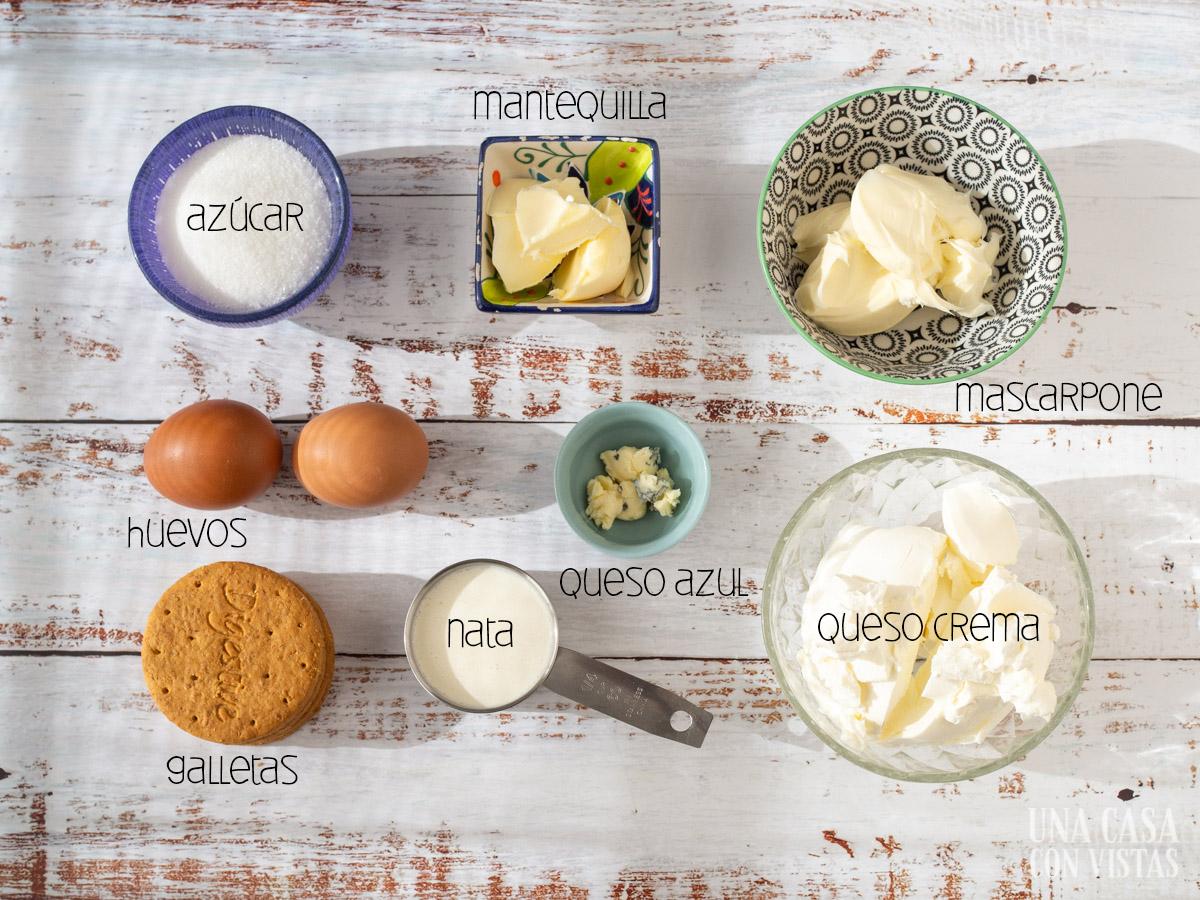 Ingredientes para la tarta de tres quesos