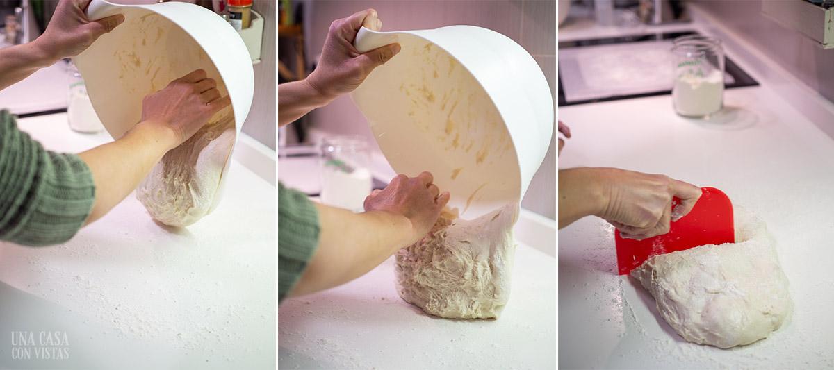 Dividiendo masa de pan sin amasado