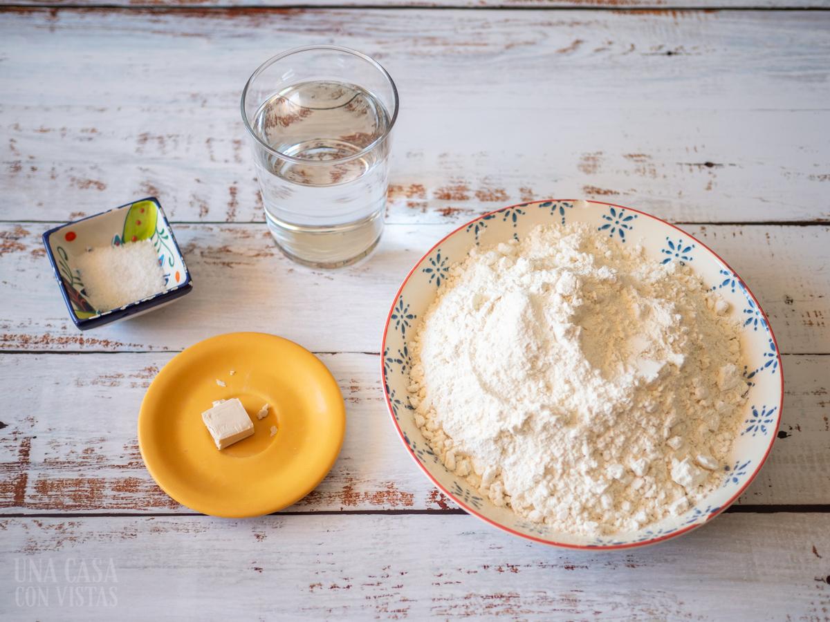 Ingredientes para la receta de pan sin amasado