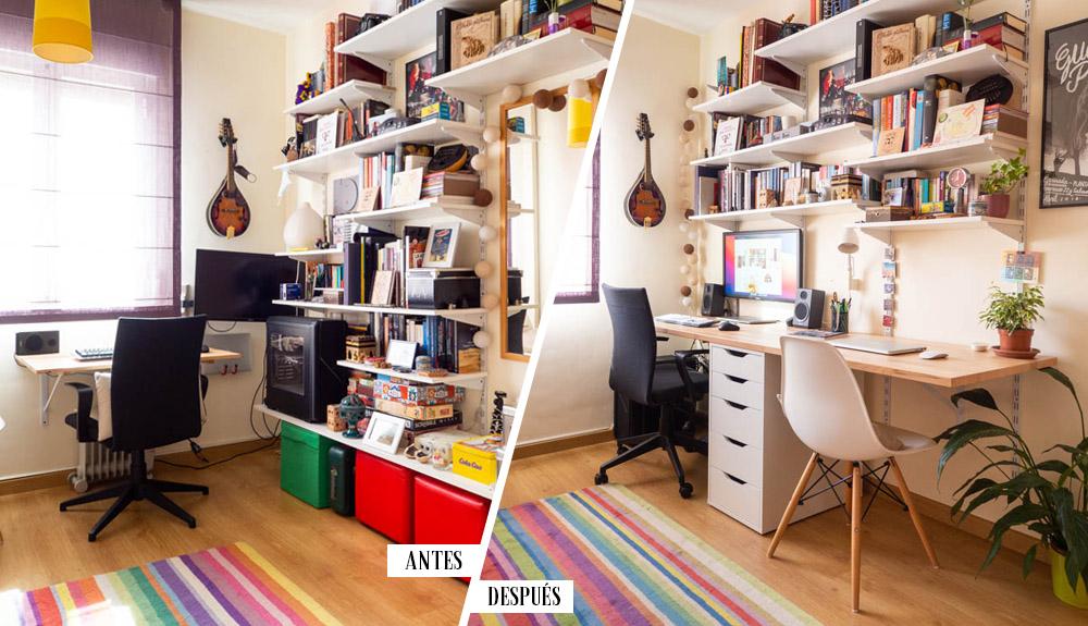 Antes y después espacio de trabajo en casa