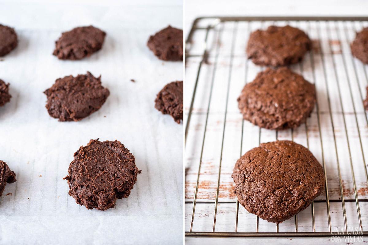 Galletas de chocolate antes y después