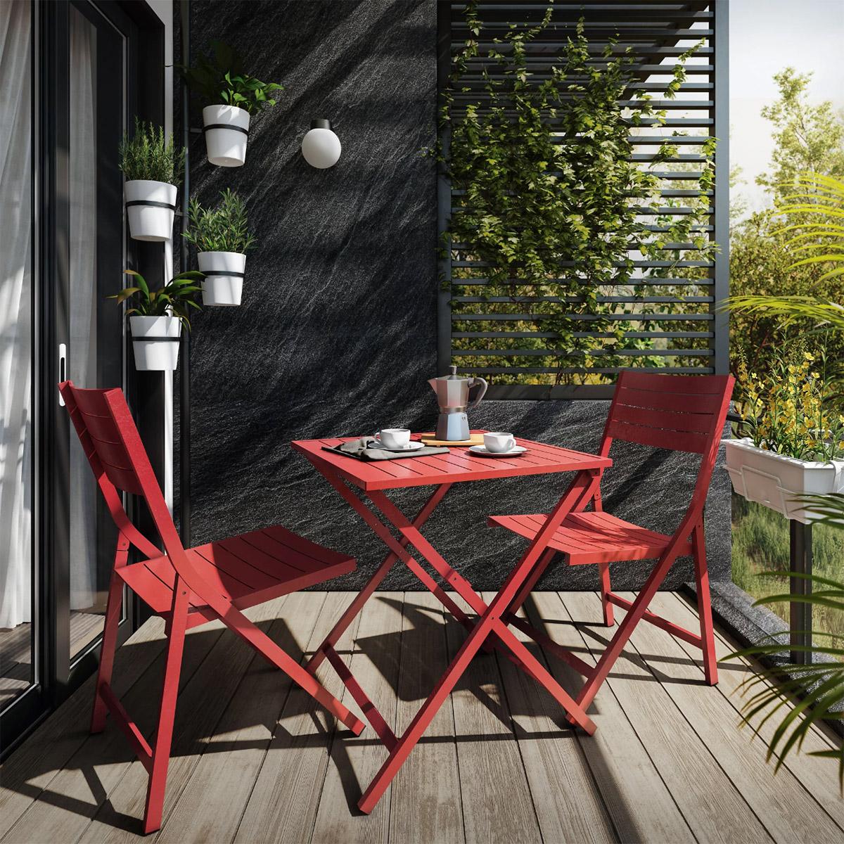 Conjunto de balcón rojo