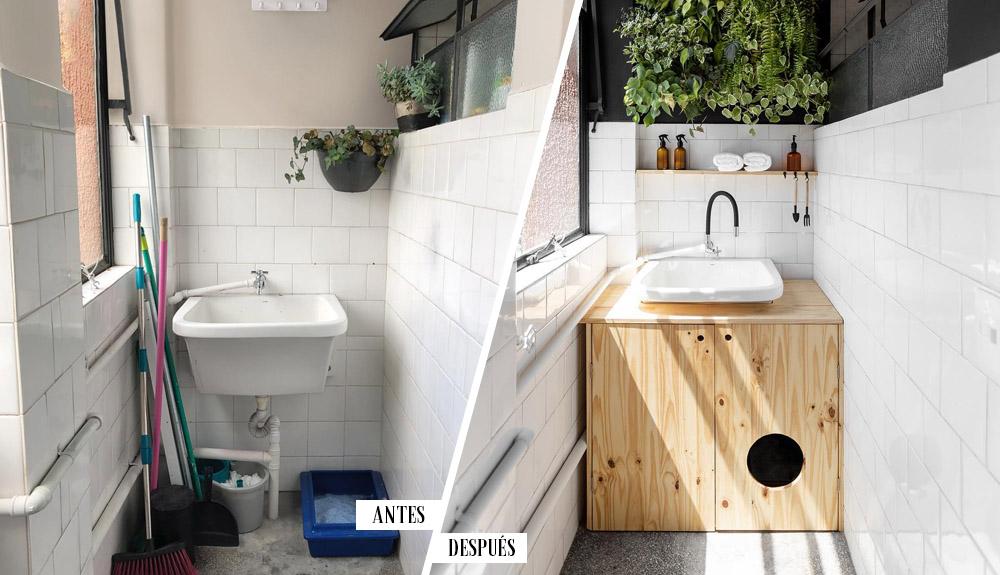 Antes y después de un pequeño lavadero