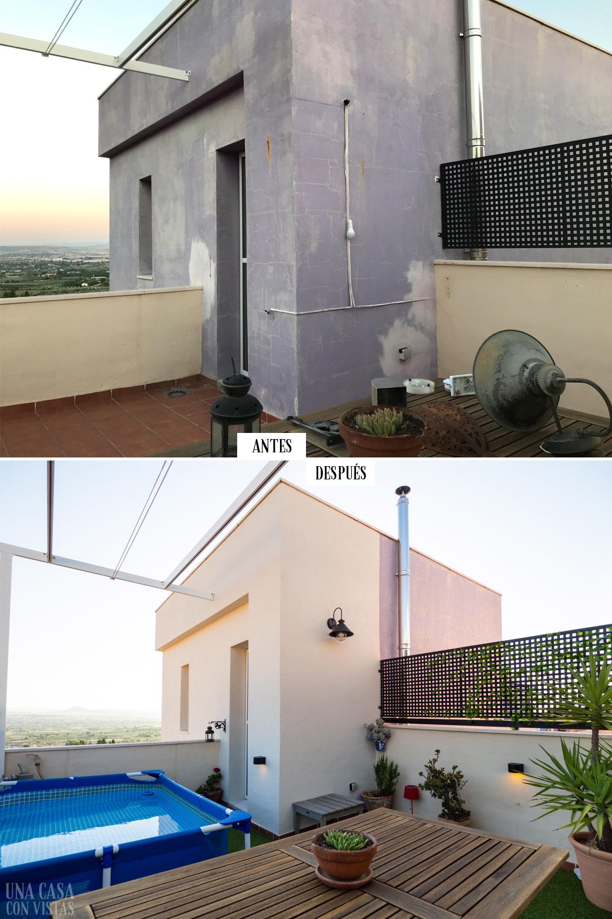 Antes y después de nuestra terraza pintada