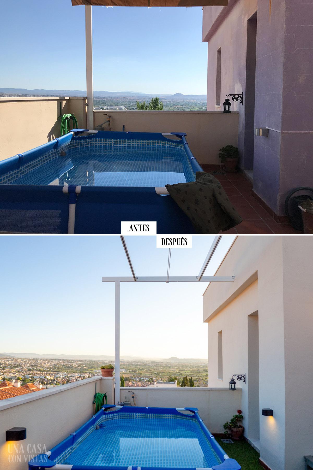 Antes y después de la terraza pintada