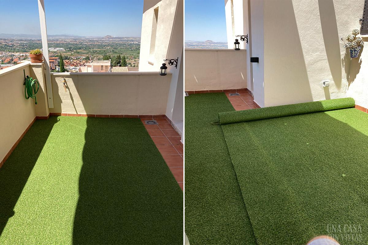 Instalando césped artificial en la terraza