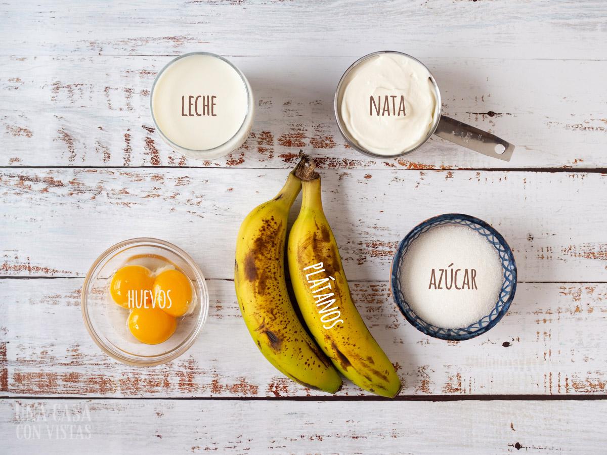 Ingredientes helado de plátano