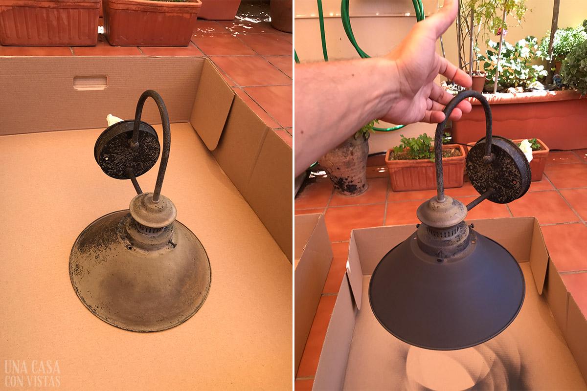 Lámpara metálica restaurada con pintura negra
