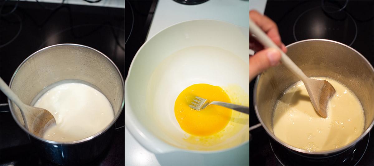 Mezclando la leche con los huevos
