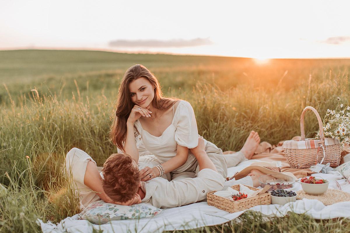 Picnic romántico en el campo